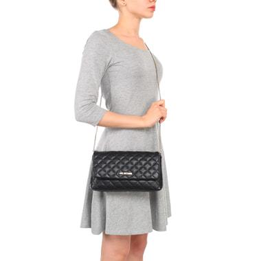 Маленькая черная стеганая сумка с откидным клапаном и цепочкой Love Moschino