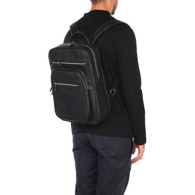 Мужской рюкзак из черной зернистой кожи Stevens