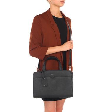 Женская сумка из сафьяновой черной кожи с плечевым ремешком DKNY