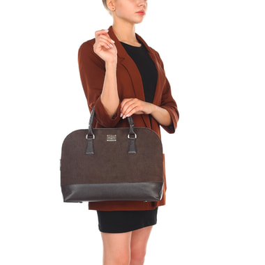 Женская сумка из комбинированной коричневой кожи Chatte