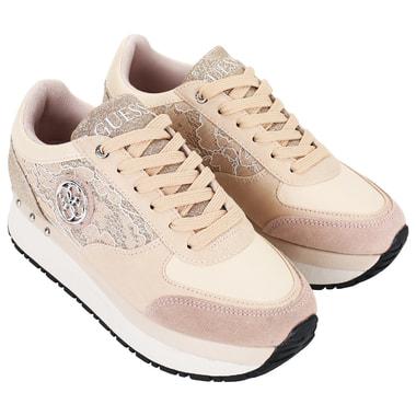 Женские бежевые кроссовки на платформе Guess