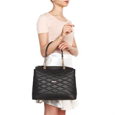 Черная стеганая сумка из натуральной кожи Marina Creazioni