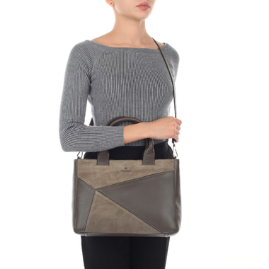 Вместительная сумка из комбинации кожи и замши Chatte