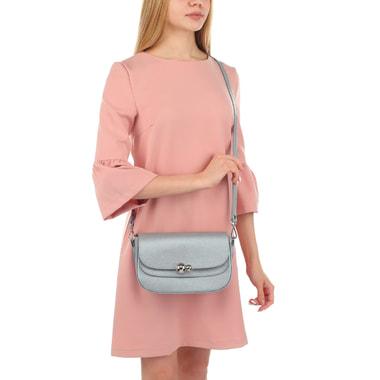 Серебристая женская сумочка с откидным клапаном Chatte