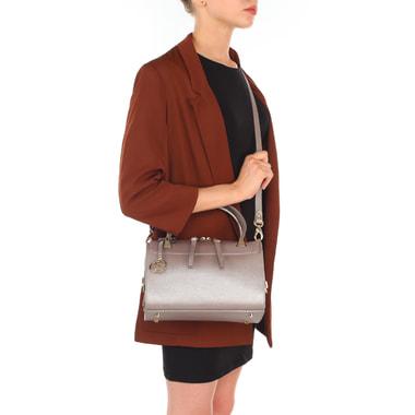 Маленькая женская сумочка из сафьяновой кожи с замшей Carlo Salvatelli
