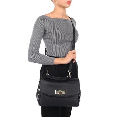 Женская кожаная сумка черного цвета DKNY