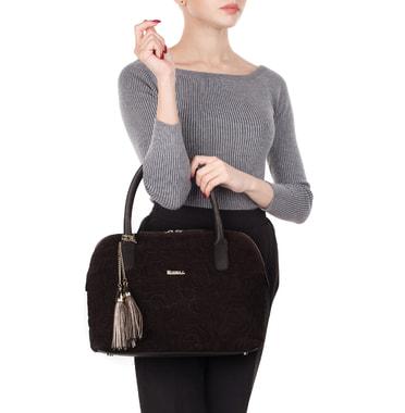 Вместительная стеганая сумка из натуральной кожи и замши Marina Creazioni
