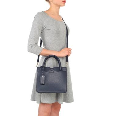 Маленькая синяя сумка из сафьяновой кожи с короткими ручками DKNY