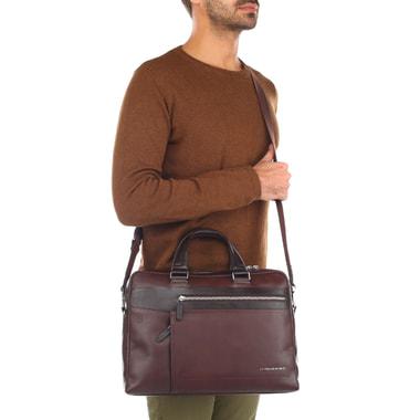 Кожаная коричневая деловая сумка Piquadro