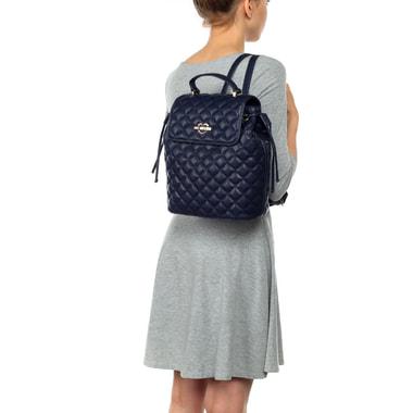 Вместительный женский стеганый рюкзак синего цвета Love Moschino