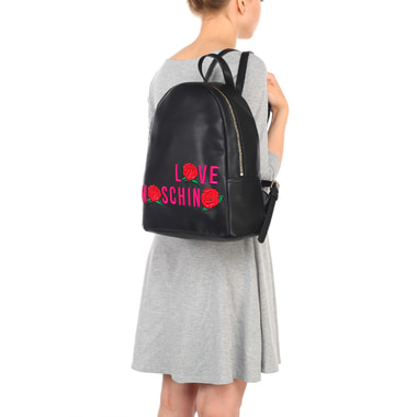 Женский черный рюкзак с цветной вышивкой Love Moschino