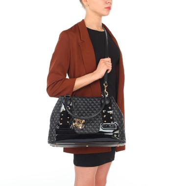 Женская стеганая сумка из черной кожи с лаковыми деталями Valentino Orlandi