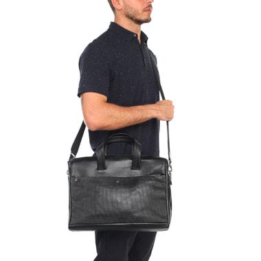 Мужская деловая сумка из комбинированной кожи и отделением под ноутбук Stevens