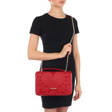 Красная женская сумочка с декором Love Moschino