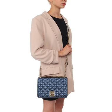 Женская стеганая сумка из синей металлизированной кожи Ripani