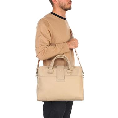 Мужская бежевая деловая сумка из натуральной кожи Piquadro