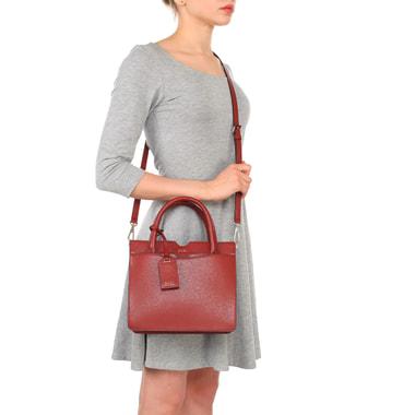 Маленькая красная сумка из сафьяновой кожи с короткими ручками DKNY