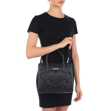 Черная женская сумочка с декором Love Moschino