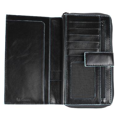 Вместительное портмоне из черной кожи Piquadro
