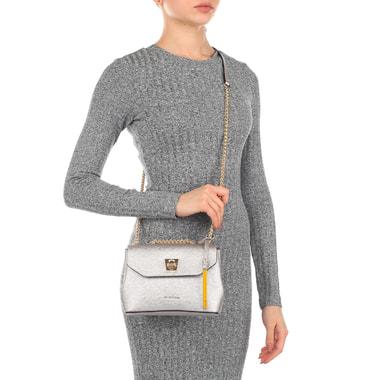 Серебристая женская сумочка из сафьяна Cromia