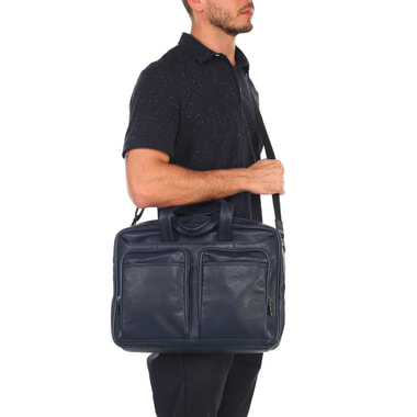 Мужская деловая сумка из синей зернистой кожи Stevens