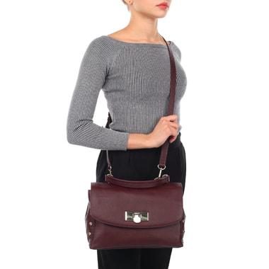Женская кожаная сумка бордового цвета DKNY