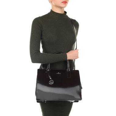 Женская сумка из глянцевой кожи и замши Aurelli