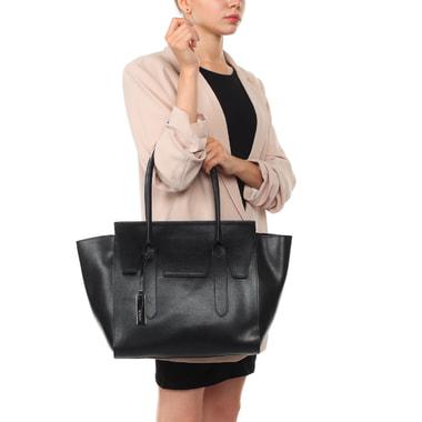 Женская сумка-трапеция из черной сафьяновой кожи с длинными ручками Ripani