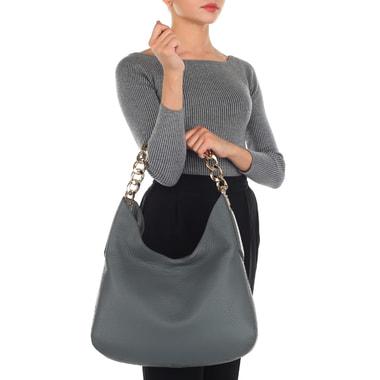 Женская кожаная сумка серого цвета Gironacci