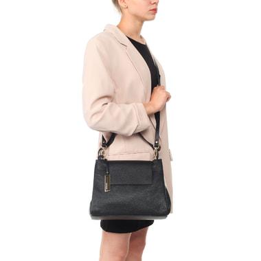 Женская сумка из черной зернистой кожи со съемным ремешком Ripani