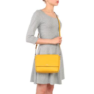 Яркая сумка из сафьяновой кожи через плечо DKNY