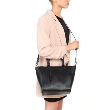 Женская сумка-трапеция из черной сафьяновой кожи Ripani