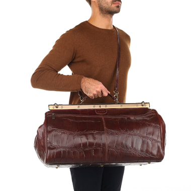 Кожаная сумка-саквояж с выделкой под рептилию Stevens