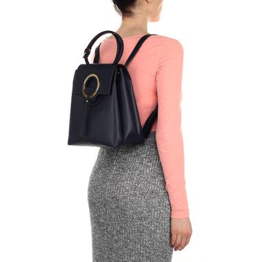 Кожаный женский рюкзак синего цвета Carlo Salvatelli