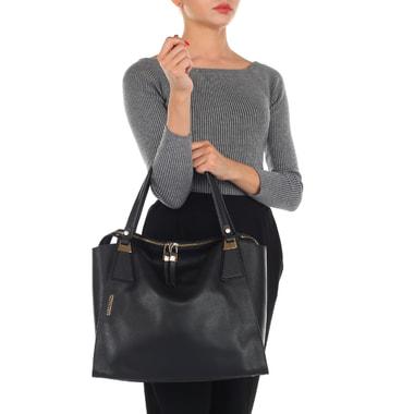 Вместительная черная сумка из натуральной кожи Gironacci