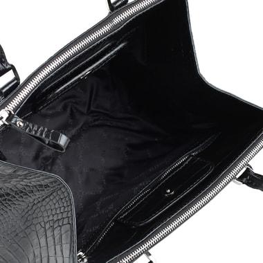 Вместительная кожаная сумка с выделкой под крокодила Chatte