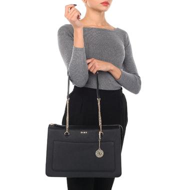 Вместительная женская сумка с длинными ручками DKNY