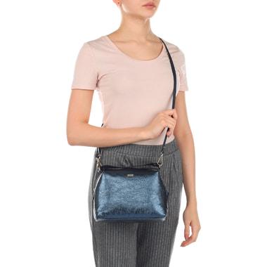 Синяя кожаная сумочка с плечевым ремешком Chatte
