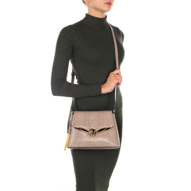 Женская кожаная сумка кросс-боди с выделкой под рептилию Cromia