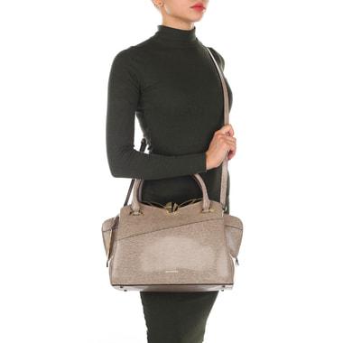 Вместительная кожаная сумка с выделкой под рептилию Cromia
