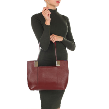 Бордовая женская сумка из натуральной кожи Carlo Salvatelli