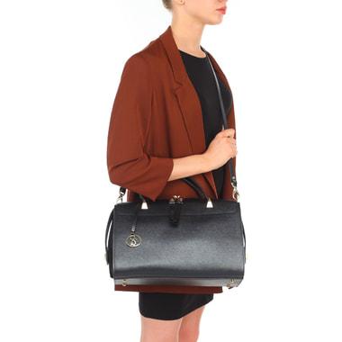 Женская черная сумка из сафьяновой кожи с замшей Carlo Salvatelli