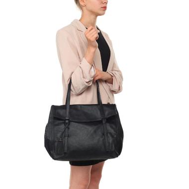 Женская черная сумка из гладкой матовой кожи Ripani