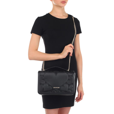 Черная женская сумочка на кнопке Love Moschino