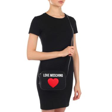 Черная женская сумочка на молнии Love Moschino