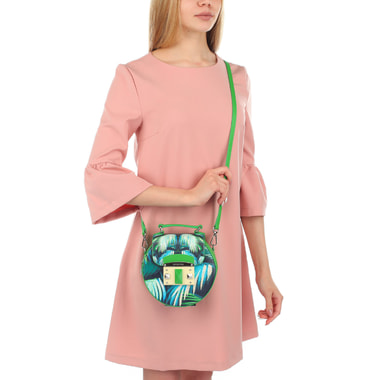 Круглая женская сумочка с принтом Cromia