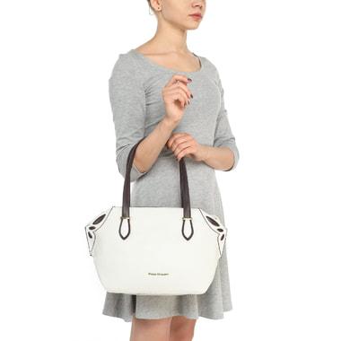 Кожаная белая сумка с длинными ручками Fiato Dream