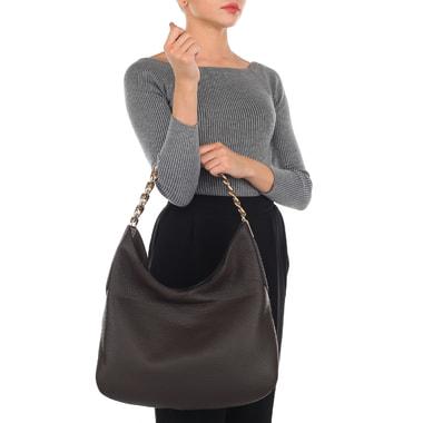 Женская кожаная сумка коричневого цвета Gironacci