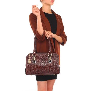 Женская сумка из комбинированной кожи с тиснением Marino Orlandi