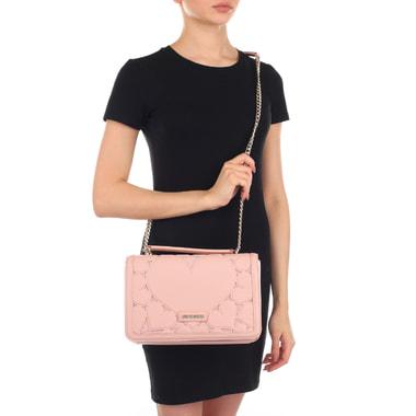 Женская розовая сумочка с декором Love Moschino